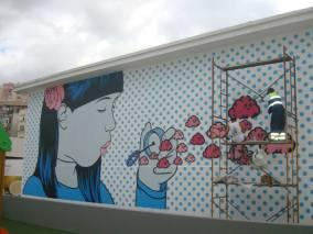 Arte do Myneandyours no Parque Infantil de Arroios (Crédito: GAU)