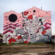 Mural dos irmãos How and Nosm em Alcântara - com UnderDogs (Crédito: CtrlAltRUA)