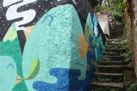 Pintura no Blu House Hostel (Crédito: Divulgação)