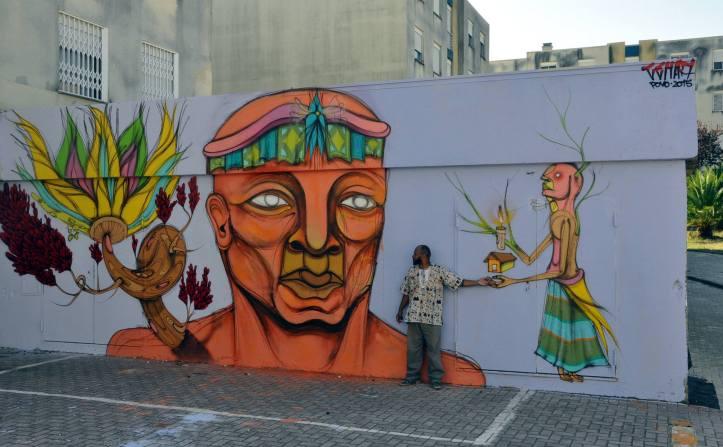 Obra do artista brasileiro Cena7 em Loures (facebook/obairroiomundo)