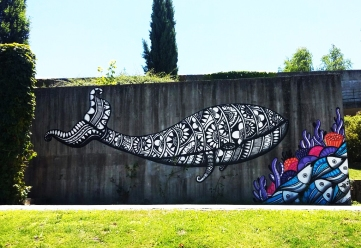 Primeiro mural de Cadumen no Parque da Cidade de Fafe (Crédito: Cadumen)