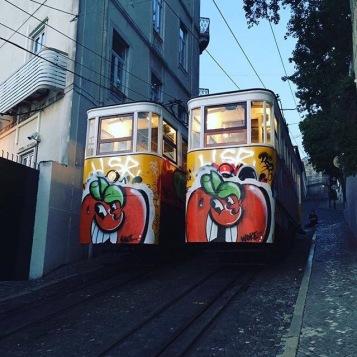 Laranjas de Atomik nos elétricos da Calçada da Glória (@atomiko)