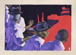"""""""Man Playing"""" (2017). Trabalho de Deso para a exposição """"Samba de Roda"""""""