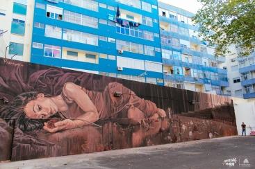 Mural de Regg Salgado inpirado numa bailarina do grupo Quorum Ballet (Crédito: Daniel Sanches)