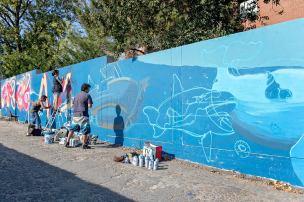 Mural coletivo que reuniu dezenas de artistas (Crédito: Divulgação/Facebook)