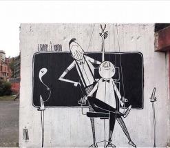 """""""Il Barbiere e il Burattino"""". Pintura em Lazio, na Itália (Crédito: Alex Senna/Instagram)"""