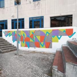"""""""Soundscapes - Tristesse"""" Mural de mynameisnotSem no Loures Arte Pública 2017 (Crédito: Divulgação)"""