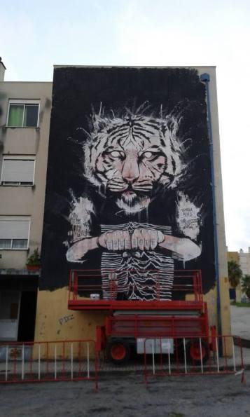 Mural realizado na galeria de arte publica (GAP) da Quinta do Mocho (crédito: divulgação/facebook)